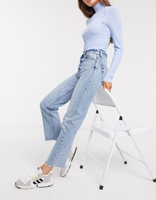 And other stories & high-waist straight leg jeans in bleached blue