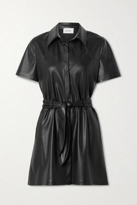Nanushka Roberta Belted Vegan Leather Mini Dress - Black