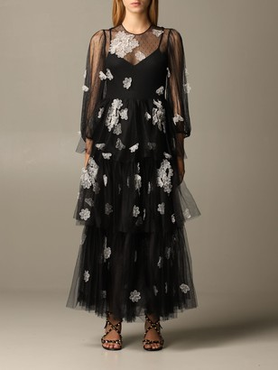RED Valentino Dress In Point D'esprit Tulle With Floral Embroidery