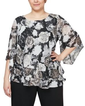 Alex Evenings Plus Size Chiffon Burnout Floral-Print Top