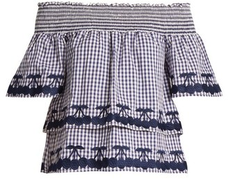 Bliss and Mischief Off The Shoulder Gingham Cotton Top - Womens - Blue White
