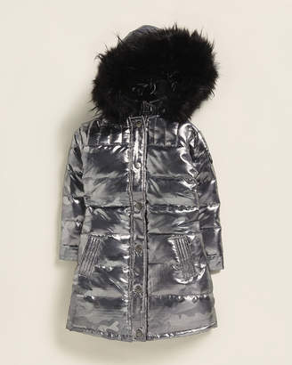 Appaman (Toddler Girls) Camouflage Faux Fur-Trimmed Long Down Coat