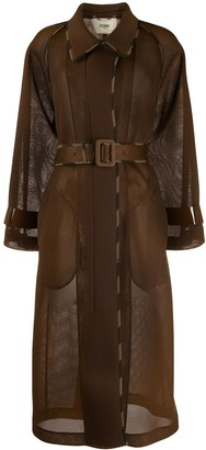 Fendi Mesh Belted Trench Coat
