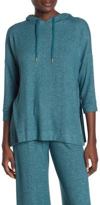 Donna Karan Solid 3/4 Sleeve Lounge Hoodie