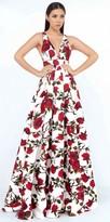 Mac Duggal A-Line Criss Cross Back Rose Print Ball Gown