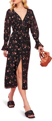 Reformation Fia Floral Long Sleeve Midi Dress