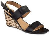 Calvin Klein Peony Leather Grid-Cork Wedge Sandals