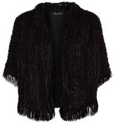 Escada Laffa Leather Fringe Jacket