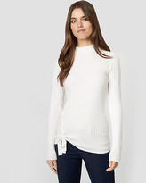 Le Château Textured Brushed Viscose Mock Neck Sweater