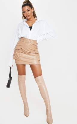 PrettyLittleThing Camel Faux Leather Belted Cargo Pocket Mini Skirt