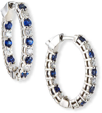 NM Diamond Collection 18k White Gold Diamond/Blue Sapphire Hoop Earrings