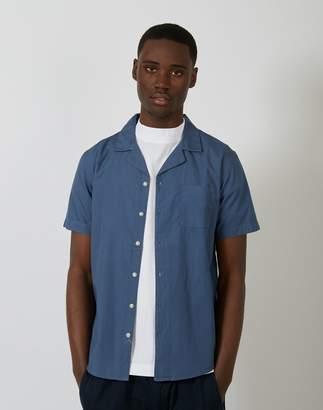 The Idle Man - Revere Collar Shirt Blue
