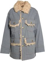 Marc Jacobs Faux-fur And Cotton-denim Oversized Jacket