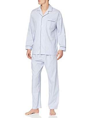Brooks Brothers Men's Pj Og Bclth STP Bl Pyjama Set, Blue 400, Medium