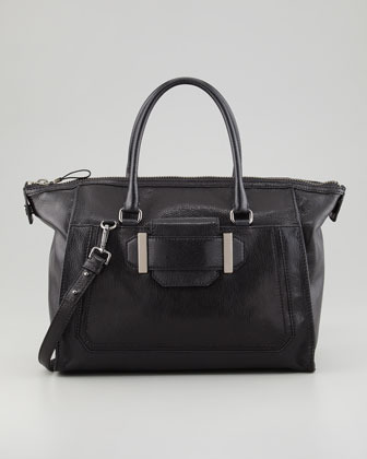 Milly Kelly Glazed Leather Satchel Bag, Black