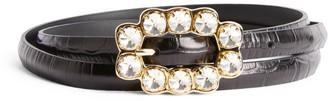 Sandro Croc-Embossed Leather Diamante Belt