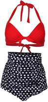 Simplicity Women's Vintage 50s High Waist Polka Swimsuit Bikini Set 7315_Red+Black, S