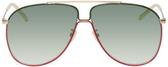Gucci Gold and Green Ultralight Aviator Sunglasses