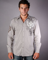 Roar Federation Long Sleeve Button Down in Grey