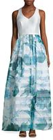 Theia Print Skirt A Line Dress