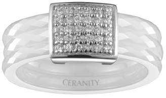 Ceranity 1-12/0039-B Women's Ring with Square Motif - 925/1000 Sterling Silver with Cubic Zirconia and Ceramic - 0.95 g - White White