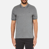 Michael Kors Men's Double Collar Zip Polo Shirt Ash Melange