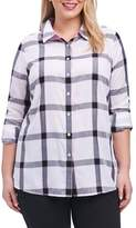Foxcroft Zoey Herringbone Plaid Shirt