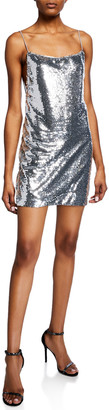 Fame & Partners Sequin Plunge-Back Sleeveless Mini Dress