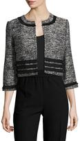 Karl Lagerfeld Tiered Fringed Cropped Tweed Jacket