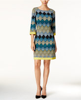 Jessica Howard Three-Quarter-Sleeve Printed Dress