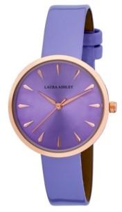 Laura Ashley Women's Case Purple Polyurethane Strap Watch 36mm