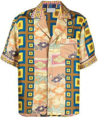 Pierre Louis Mascia Aloe patchwork print silk shirt