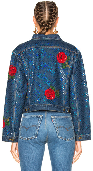 Ashish Denim Jacket with Rose Embroidery in Blue.
