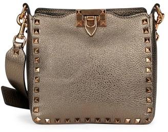 Valentino Mini Rockstud Metallic Leather Hobo Bag