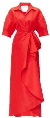 Carolina Herrera Bow-waist Silk-faille Gown - Womens - Red