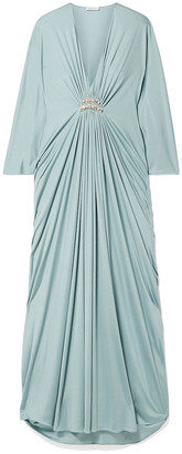 Reem Acra Draped Embellished Silk-jersey Maxi Dress