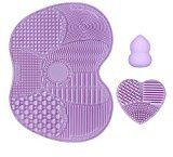 KEDSUM Makeup Brush Cleaning Mats,1 Apple Shaded Large Mat,1 Heart Shaped Small Mat and 1 Makeup Sponge Blender, Silicon Brush Cleaner for Face Brush and Eye Brush