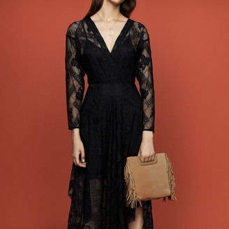 Maje Long sleeved scarf dress in lace