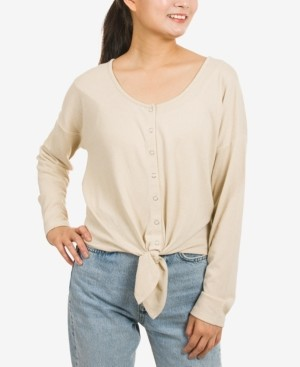 Hippie Rose Juniors' Button-Front Tie-Hem Top