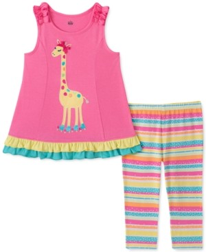 Kids Headquarters Little Girls 2-Pc. Giraffe Tunic & Striped Leggings Set