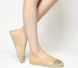 Office Lucky Espadrilles With Toe Cap Nude Leather Rose Gold Glitter