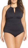 Tommy Bahama Plus Size Women's Pearl Solids One-Piece Swimsuit