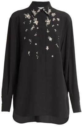 Givenchy Crystal Embellished Silk Blouse