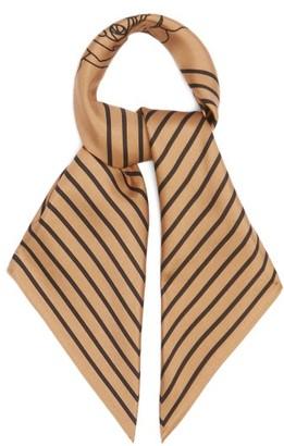 LESCARF Rose-print Striped-border Silk Scarf - Camel