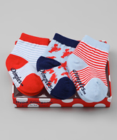 Dimples Red & Blue Lobster Three-Pair Socks Set