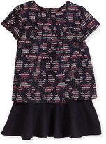 Oscar de la Renta Short-Sleeve Metallic Tweed Dress, Navy/Multicolor, Size 4-14