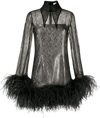 16Arlington Feather-Trimmed Lace Shirt Dress