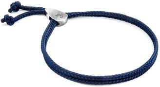 Anchor & Crew Navy Blue Pembroke Silver & Rope Bracelet