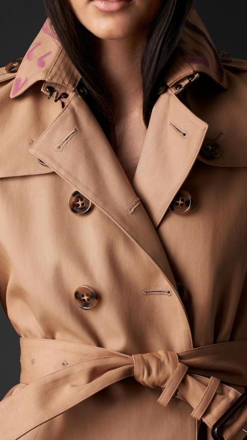 Burberry Hand-Painted Collar Gabardine Trench Coat