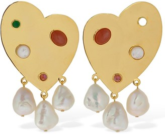 Lizzie Fortunato Divina Pearl & Stone Earrings